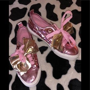 Jojo pink sequin shoes gold bows size 4